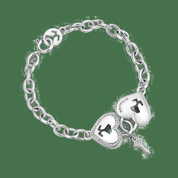 Silver Heart Lock & Key CZ Bracelet