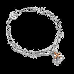 Silver & 14K Gold Heart Gift Box Bracelet