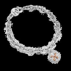 Silver & 14K Gold Round Gift Box Bracelet
