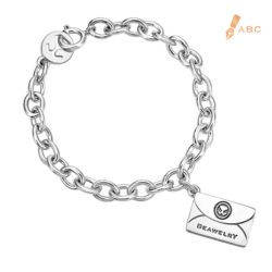 Silver Large Personalized Envelope Bracelet