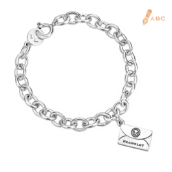 Silver Medium Personalized Envelope Bracelet