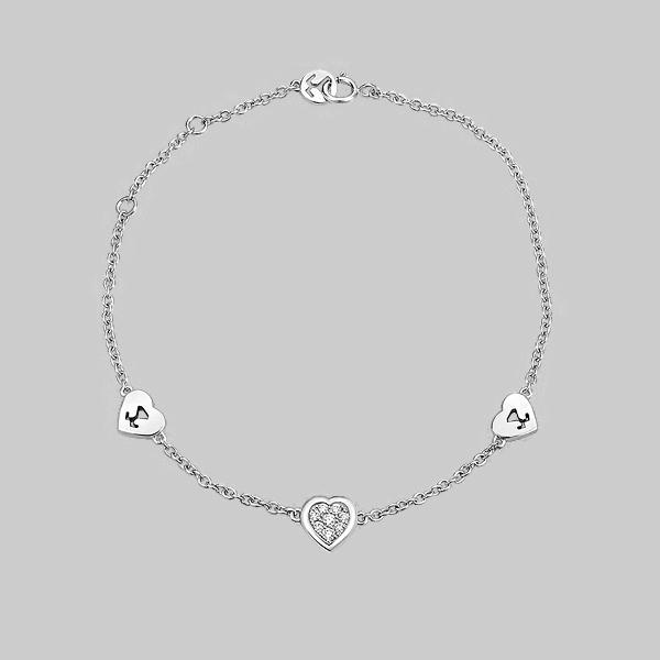 18K White Gold Heart Diamond Cluster Bracelet