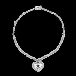 18K White Gold Heart Diamond Bracelet