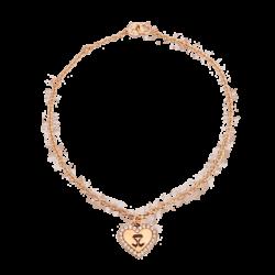 18K Pink Gold Heart Diamond Bracelet