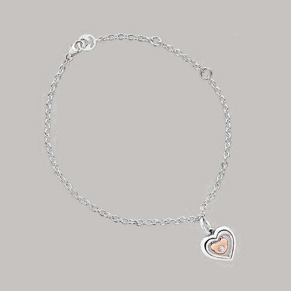 Silver & 14K Gold Heart & Bear Diamond Bracelet