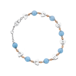 Silver & 14K Gold Bear Diamond & Bead Bracelet