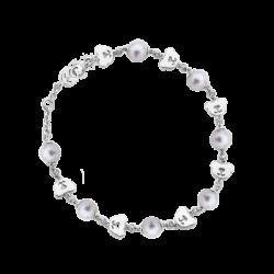 Silver Bear CZ & Pearl Bead Bracelet