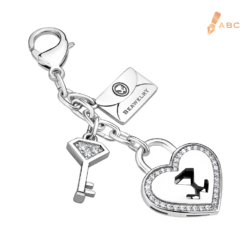 Heart lock & Key CZ Bag Charm