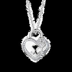 Silver Heart Lock & Key CZ Pendant