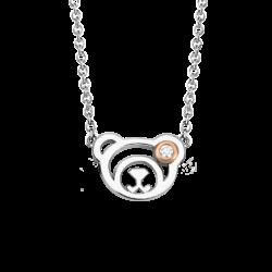 Silver & 14K Pink Gold Bear Diamond Pendant