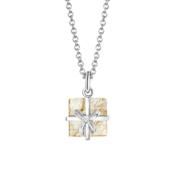 18K White Gold Rutile Quartz & Diamond Gift Box Pendant