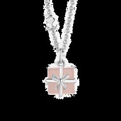 Silver Pink Onyx Gift Box Pendant