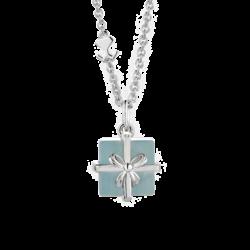 Silver Milky Aquamarine Gift Box Pendant