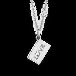 """18K White Gold """"Love"""" Diamond Envelope Pendant"""