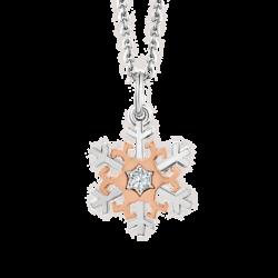 18K Two-tone Gold Snowflake Diamond Pendant