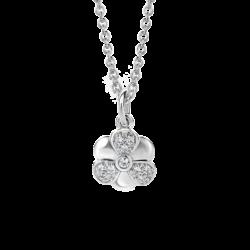 Silver Flower CZ Pendant