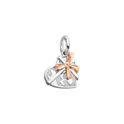 Silver & 14K Gold Heart Gift Box Charm