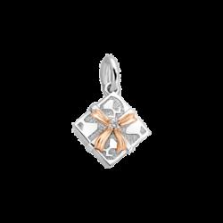 Silver & 14K Gold Square Gift Box Diamond Charm