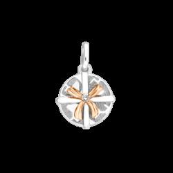 Silver & 14K Gold Round Gift Box Diamond Charm