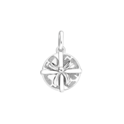 Silver Round Gift Box Charm