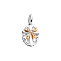 Silver & 14K Gold Oval Gift Box Diamond Charm
