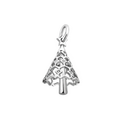 Silver Christmas Tree CZ Charm