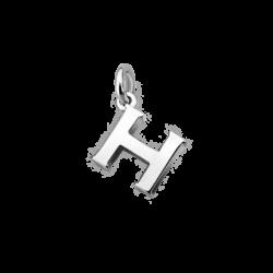 "Silver Alphabet Letter ""H"" Charm"