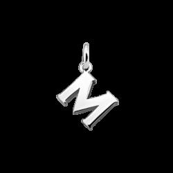 """Silver Alphabet Letter """"M"""" Charm"""