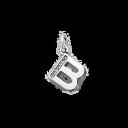 """Silver CZ Alphabet Letter """"B"""" Charm"""