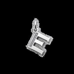 """Silver CZ Alphabet Letter """"E"""" Charm"""