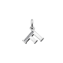 """Silver CZ Alphabet Letter """"F"""" with Charm"""