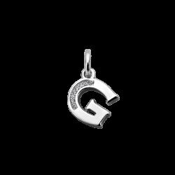 """Silver CZ Alphabet Letter """"G"""" Charm"""
