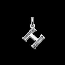 """Silver CZ Alphabet Letter """"H"""" Charm"""