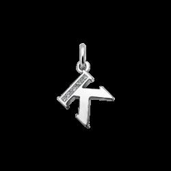 """Silver CZ Alphabet Letter """"K"""" Charm"""