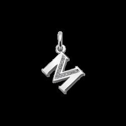 """Silver CZ Alphabet Letter """"M"""" Charm"""