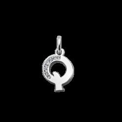 """Silver CZ Alphabet Letter """"Q"""" Charm"""
