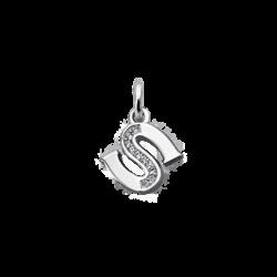 """Silver CZ Alphabet Letter """"S"""" Charm"""