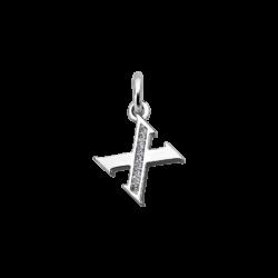 """Silver CZ Alphabet Letter """"X"""" Charm"""