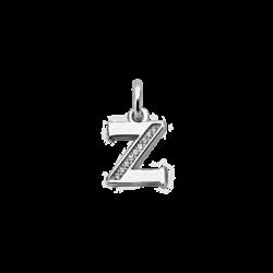 "Silver CZ Alphabet Letter ""Z"" Charm"