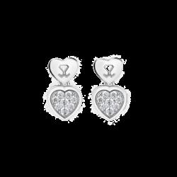 Silver Dangling Heart CZ Earrings