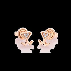 18K Pink Gold Diamond Mini Beawelry Earrings