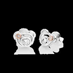 Silver & 14K Pink Gold Bear Diamond Earrings