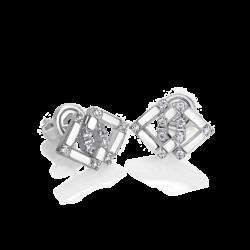 18K White Gold Infinity Diamond Earrings