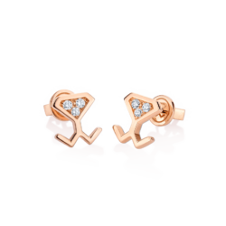 18K Pink Gold Diamond Beawelry Earrings