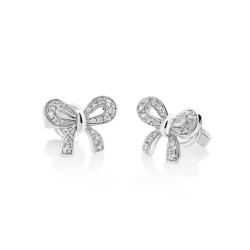 Silver Bow CZ Earrings