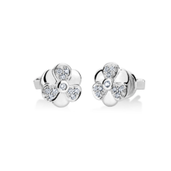 Silver Flower CZ Earrings