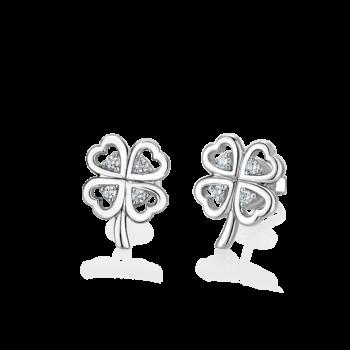 Silver Clover Leaf CZ Earrings