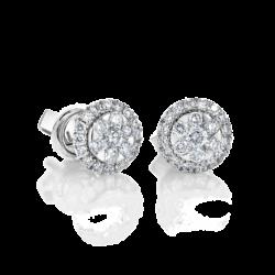 18K White Gold Cluster Diamond Earrings