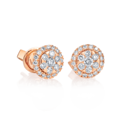 18K Pink Gold Cluster Diamond Earrings