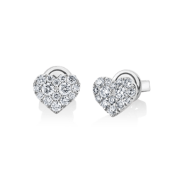 18K White Gold Heart Diamond Cluster Earrings
